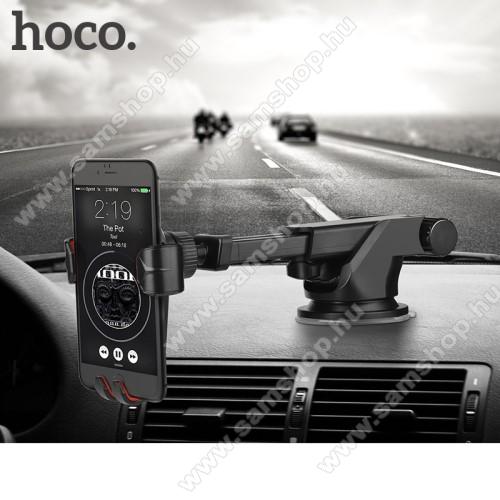 SAMSUNG GT-I9506 Galaxy S IV.HOCO CA24 autós tartó / állvány - 360°-ban forgatható, 9,6-14cm-ig állítható teleszkópos kar, tapadókorongos - FEKETE - GYÁRI