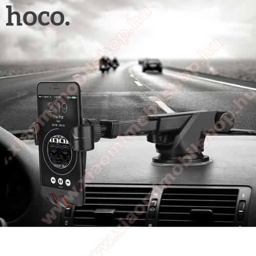 Xiaomi Mi A1HOCO CA24 autós tartó / állvány - 360°-ban forgatható, 9,6-14cm-ig állítható teleszkópos kar, tapadókorongos - FEKETE - GYÁRI