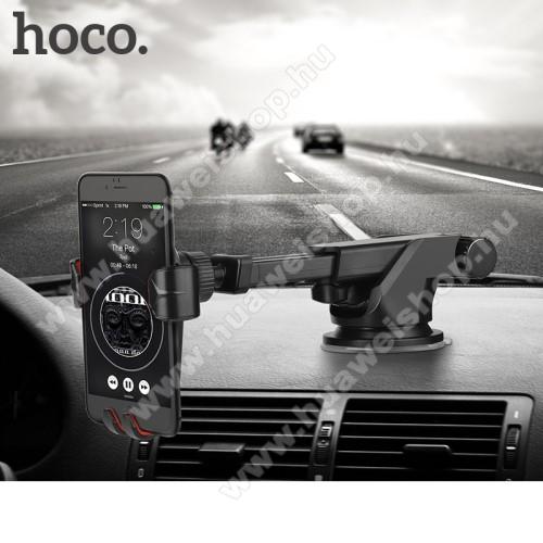 Huawei Ascend Mate 2HOCO CA24 autós tartó / állvány - 360°-ban forgatható, 9,6-14cm-ig állítható teleszkópos kar, tapadókorongos - FEKETE - GYÁRI