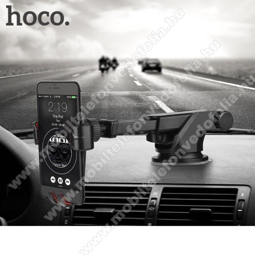 NOKIA 7.1HOCO CA24 autós tartó / állvány - 360°-ban forgatható, 9,6-14cm-ig állítható teleszkópos kar, tapadókorongos - FEKETE - GYÁRI