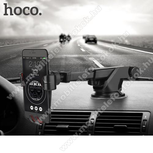 HUAWEI P Smart+HOCO CA24 autós tartó / állvány - 360°-ban forgatható, 9,6-14cm-ig állítható teleszkópos kar, tapadókorongos - FEKETE - GYÁRI