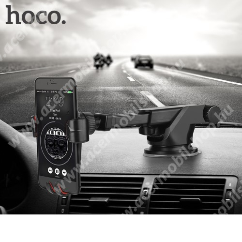 HOCO CA24 autós tartó / állvány - 360°-ban forgatható, 9,6-14cm-ig állítható teleszkópos kar, tapadókorongos - FEKETE - GYÁRI