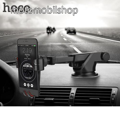 MOTOROLA Moto E4 HOCO CA24 autós tartó / állvány - 360°-ban forgatható, 9,6-14cm-ig állítható teleszkópos kar, tapadókorongos - FEKETE - GYÁRI