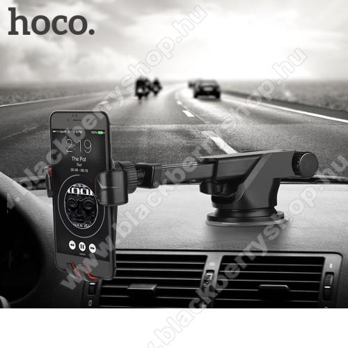 BLACKBERRY Q5HOCO CA24 autós tartó / állvány - 360°-ban forgatható, 9,6-14cm-ig állítható teleszkópos kar, tapadókorongos - FEKETE - GYÁRI