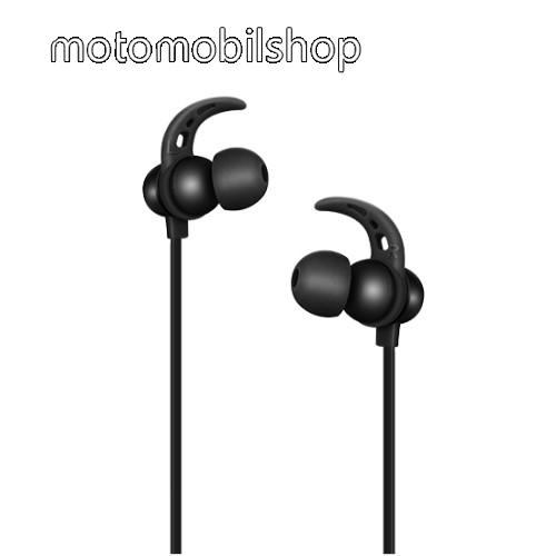 HOCO ES11 sztereo sport bluetooth headset - FEKETE - v.4.2, ergonomikus füldugók, mikrofon, hangerő és felvevő gombok - GYÁRI