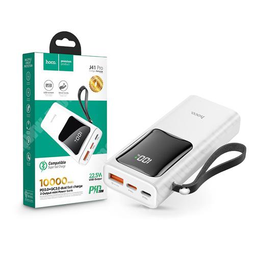 PRESTIGIO MultiPad 8.0 PRO DUO HOCO J41 Pro hordozható töltő / vésztöltő / Power Bank - USB+Type-C + Lightning + PD3.0+QC3.0, csuklópánt - 10000 mAh - FEHÉR - GYÁRI