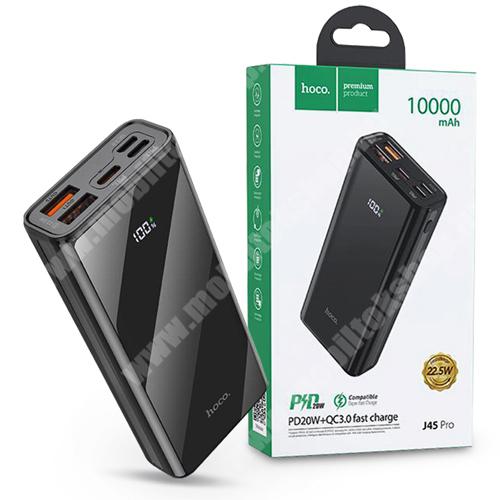 PRESTIGIO MultiPad 8.0 PRO DUO HOCO J45 Pro hordozható töltő / vésztöltő / Power Bank - 2 x USB+Type-C+Lightning+MicroUSB+PD+QC3.0 - 10000 mAh - FEKETE - GYÁRI