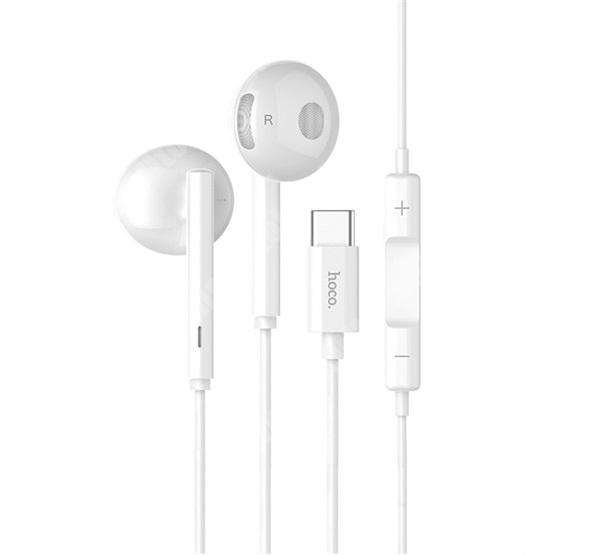 NOKIA 7.1 Plus HOCO L10 SZTEREO HEADSET / James bond - Type-C, mikrofon, felvevő és hangerő szabályzó gomb - FEHÉR - GYÁRI