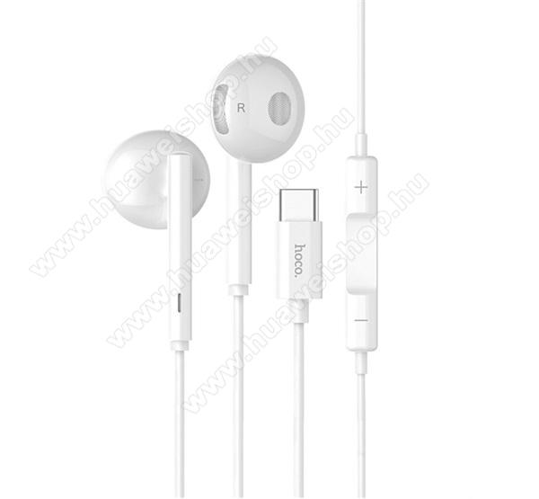HOCO L10 SZTEREO HEADSET / James bond - Type-C, mikrofon, felvevő és hangerő szabályzó gomb - FEHÉR - GYÁRI