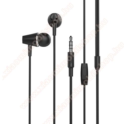 Xiaomi Mi A2HOCO M34 sztereo headset - 3,5mm Jack, mikrofon, felvevő gomb, 1,2 m vezetékkel - FEKETE