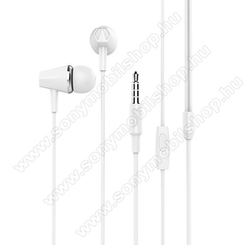 SONY Xperia T2 UltraHOCO M34 sztereo headset - 3,5mm Jack, mikrofon, felvevő gomb, 1,2 m vezetékkel - FEHÉR