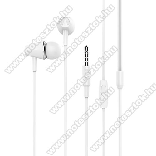 OPPO R17HOCO M34 sztereo headset - 3,5mm Jack, mikrofon, felvevő gomb, 1,2 m vezetékkel - FEHÉR