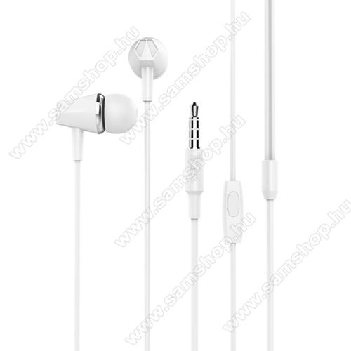 SAMSUNG GT-I9506 Galaxy S IV.HOCO M34 sztereo headset - 3,5mm Jack, mikrofon, felvevő gomb, 1,2 m vezetékkel - FEHÉR