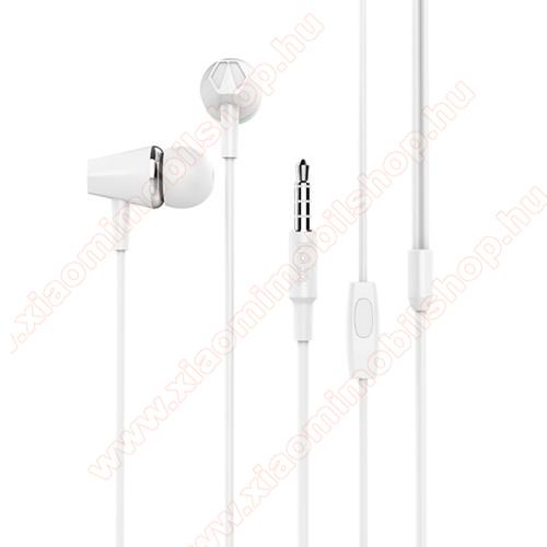 Xiaomi Redmi Note 2HOCO M34 sztereo headset - 3,5mm Jack, mikrofon, felvevő gomb, 1,2 m vezetékkel - FEHÉR