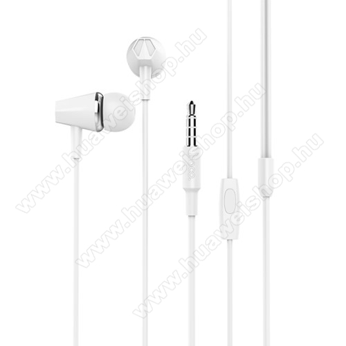 Huawei Ascend Mate 2HOCO M34 sztereo headset - 3,5mm Jack, mikrofon, felvevő gomb, 1,2 m vezetékkel - FEHÉR