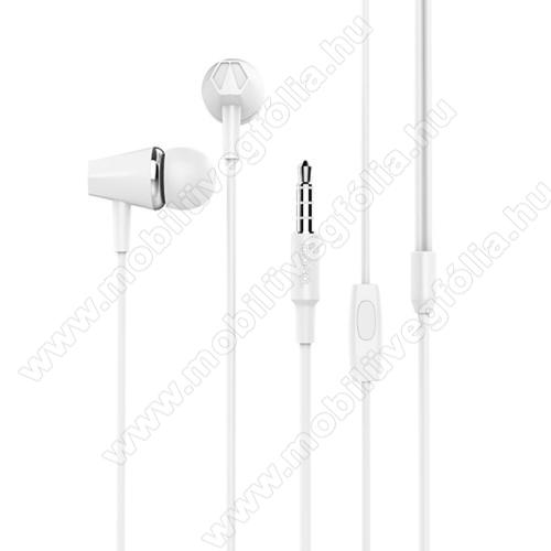 ALCATEL Smart Tab 7HOCO M34 sztereo headset - 3,5mm Jack, mikrofon, felvevő gomb, 1,2 m vezetékkel - FEHÉR