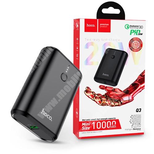 PRESTIGIO MultiPad 8.0 PRO DUO HOCO Q3 hordozható töltő / vésztöltő / Power Bank - USB+Type-C+PD3.0+QC3.0 - 10000 mAh - FEKETE - GYÁRI