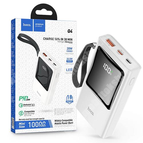 PRESTIGIO MultiPad 8.0 PRO DUO HOCO Q4 hordozható töltő / vésztöltő / Power Bank - USB+Type-C + Lightning + PD+QC3.0, csuklópánt - 10000 mAh - FEHÉR - GYÁRI