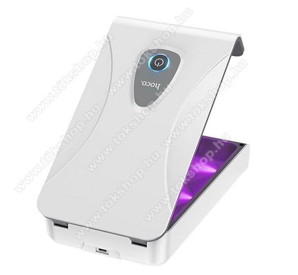 HOCO S1 Pro Sterilizáló - 350mAh beépített akkumulátor, UV, 1.8W, vezeték nélkülli töltés, fogadóegység nélkül!, mobiltelefonhoz ideális, 100 x 21 x 177mm - FEHÉR - S1_W - GYÁRI