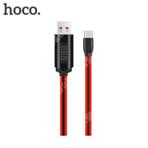 HOCO U29 adatátviteli kábel / USB töltő - USB 3.1 Type C, 1m, 2A, törésgátló kialakítás, állítható időzítő, LED kijelző, adatátviteli funkció is! - PIROS
