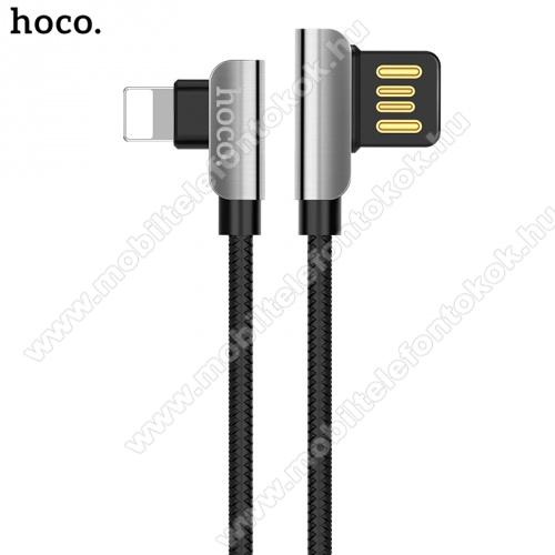 HOCO U42 adatátvitel kábel (lightning 8 pin, 120cm, 90 fokos, gyorstöltés támogatás, szövettel bevont) FEKETE - U42_LIGHT_B - GYÁRI