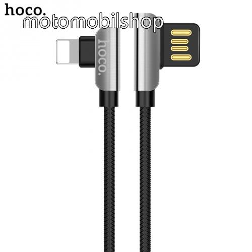 HOCO U42 adatátvitel kábel (lightning 8 pin, 120cm, 90 fokos, gyorstöltés támogatás, cipőfűző minta) FEKETE - U42_LIGHT_B - GYÁRI
