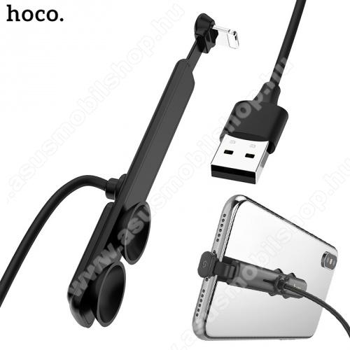 HOCO U51 töltőkábel (lightning 8 pin, 1.2m, 90 fokos, gyorstöltés támogatás, tapadókorongos, gamer) FEKETE - U51_LIGHT_B - GYÁRI