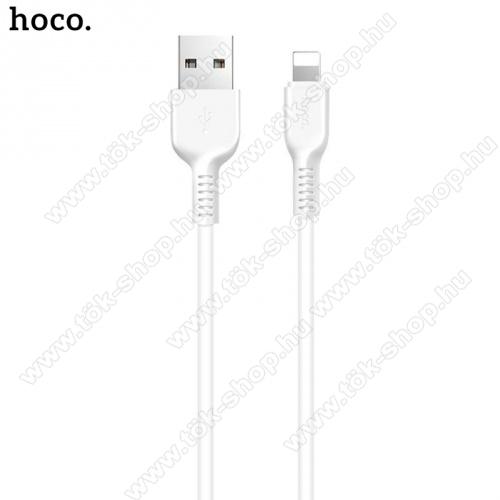 HOCO X20 adatátvitel adatkábel és töltő (lightning 8 pin, 2m, törésgátló, gyorstöltés támogatás) FEHÉR - X20_LIGHT_2M_W - GYÁRI
