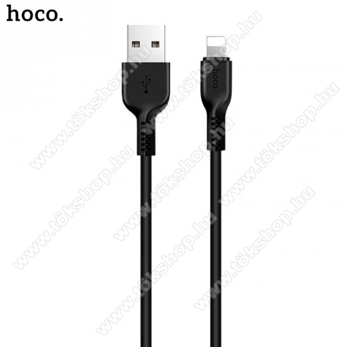 HOCO X20 adatátvitel adatkábel és töltő (lightning 8 pin, 2m, törésgátló, gyorstöltés támogatás) FEKETE - X20_LIGHT_2M_B - GYÁRI