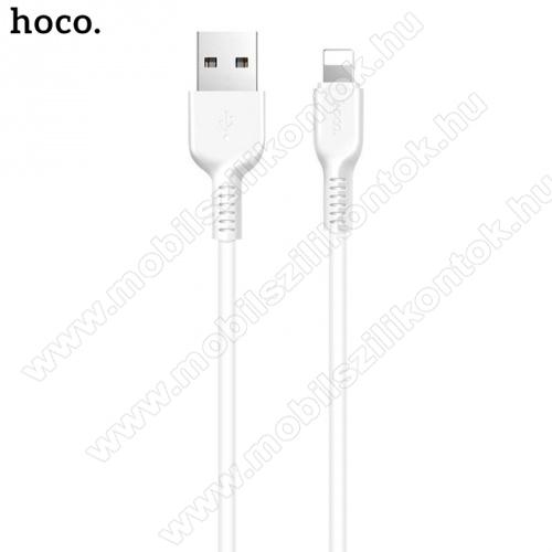 HOCO X20 adatátviteli kábel / USB töltő (lightning 8 pin, 1m, törésgátló, gyorstöltés támogatás) FEHÉR - X20_LIGHT_1M_W - GYÁRI
