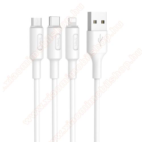 Xiaomi Mi PlayHOCO X25 3 az 1-ben adatatátviteli kábel / USB töltő - USB Type-C, microUSB, Lightning / USB csatlakozás, 1m - FEHÉR - GYÁRI