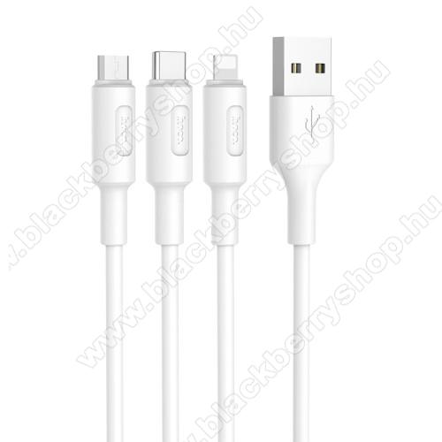 BLACKBERRY 8900 CurveHOCO X25 3 az 1-ben adatatátviteli kábel / USB töltő - USB Type-C, microUSB, Lightning / USB csatlakozás, 1m - FEHÉR - GYÁRI