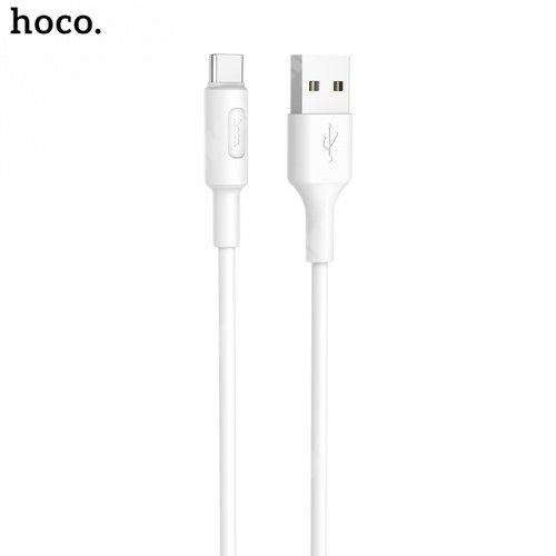 HOCO X25 Soarer adatátviteli kábel / USB töltő - USB / Type-C, 1m, törésgátló, gyorstöltés támogatás - FEHÉR - X25_TYPE_1M_W - GYÁRI
