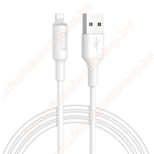HOCO X25 Soarer adatátviteli kábel / USB töltő - Lightning, 1m, törésgátló, gyorstöltés támogatás - FEHÉR - X25_LIGHT_1M_W - GYÁRI