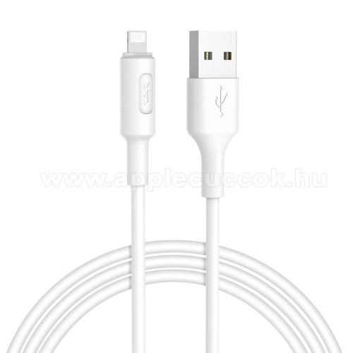 Apple AirPods Pro MWP22ZM/AHOCO X25 Soarer adatátviteli kábel / USB töltő - Lightning, 1m, törésgátló, gyorstöltés támogatás - FEHÉR - X25_LIGHT_1M_W - GYÁRI