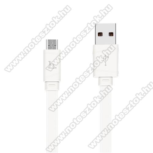 OPPO R17HOCO X5 2.4A adatátvitel adatkábel / USB töltő - USB / microUSB, 1m - lapos kábel kivitelű - FEHÉR