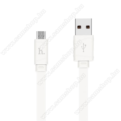 SAMSUNG GT-C3330 Champ 2HOCO X5 2.4A adatátvitel adatkábel / USB töltő - USB / microUSB, 1m - lapos kábel kivitelű - FEHÉR