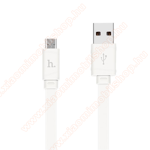 Xiaomi MI-4 LTEHOCO X5 2.4A adatátvitel adatkábel / USB töltő - USB / microUSB, 1m - lapos kábel kivitelű - FEHÉR