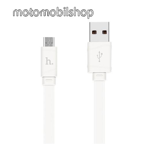 MOTOROLA XT701 HOCO X5 2.4A adatátvitel adatkábel / USB töltő - USB / microUSB, 1m - lapos kábel kivitelű - FEHÉR