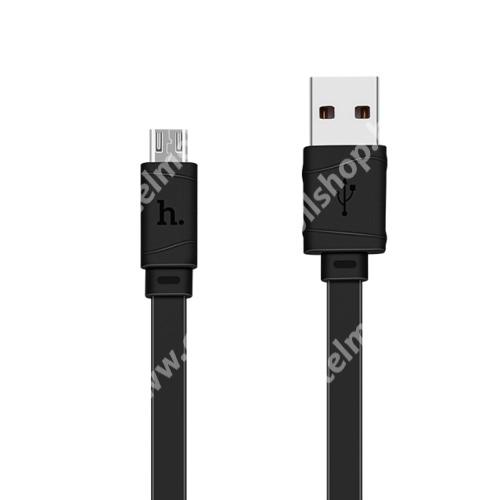 ALCATEL A5 LED HOCO X5 2.4A adatátvitel adatkábel / USB töltő - USB / microUSB, 1m - lapos kábel kivitelű - FEKETE
