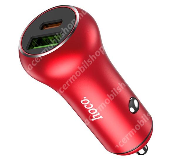 ACER Iconia Tab 8 A1-840FHD HOCO Z38 szivargyújtós töltő / autós töltő - 1x USB, 1x Type-C aljzat, 5V/3A, QC 3.0, PD gyorstöltés támogatás, LED jelző, kábel NÉLKÜL! - PIROS - Z38_R - GYÁRI