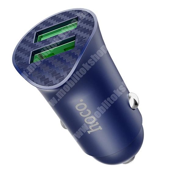 PRESTIGIO MultiPad 8.0 PRO DUO HOCO Z39 szivargyújtó töltő / autós töltő 2 x USB aljzat - FCP, AFCQ, C3.0 5V / 3A, 9V / 2A, 18W, gyorstöltés támogatás - KÉK - Z39_B - GYÁRI