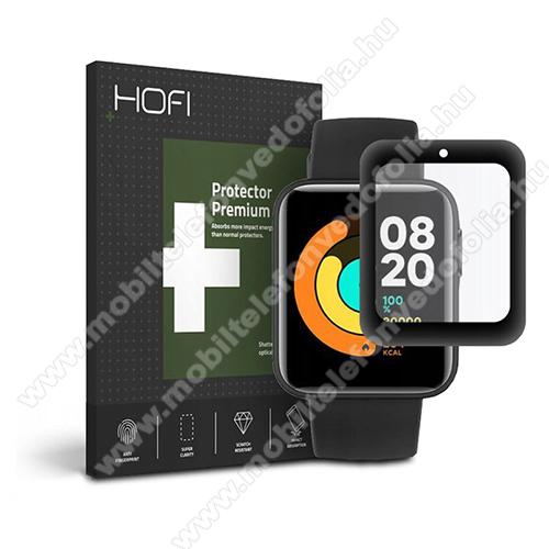 HOFI Okosóra Flexible 7H Nano Glass rugalmas edzett üveg - 0.3mm, 7H, A képernyő sík részét védi - FEKETE - Xiaomi Mi Watch Lite / Xiaomi Redmi Watch - GYÁRI