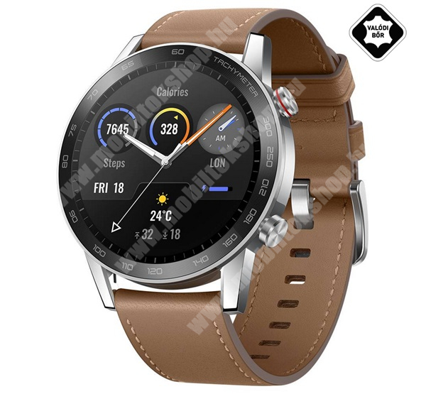 ZTE Blade Qlux 4G HONOR Magic Watch 2 okosóra (46mm, valódi bőr szíjjal) - BARNA - 55024854 - GYÁRI