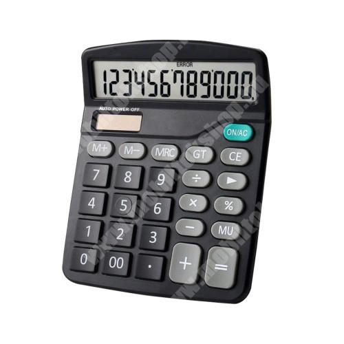 PRESTIGIO MultiPad 8.0 PRO DUO Hordozható asztali számológép - 12 számjegyes, nagy LCD kijelző, csúszásgátló, napelem, 1x AA elemmel működik (NEM TARTOZÉK), 15 x 12cm - FEKETE