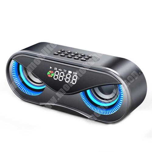 PHILIPS W3568 Hordozható bluetooth hangszóró - BAGOLY DESIGN - 10W, 75dB, beépített 2500mAh akkumulátor, 3.5mm AUX, USB, FM rádió, memóriakártya olvasás, ébresztő óra - FEKETE - 175 x 70 x 55mm