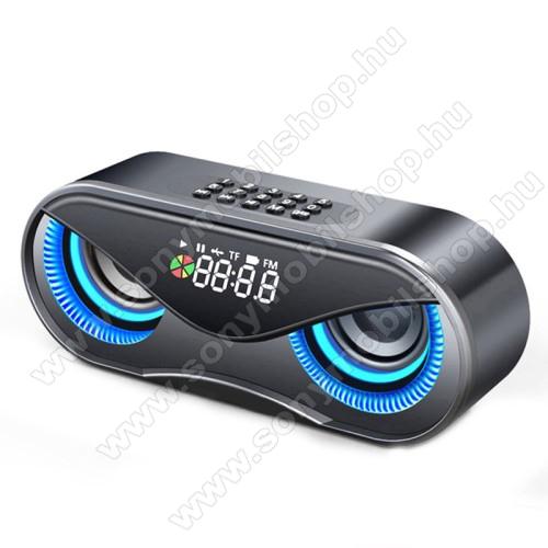 Hordozható bluetooth hangszóró - BAGOLY DESIGN - 10W, 75dB, beépített 2500mAh akkumulátor, 3.5mm AUX, USB, FM rádió, memóriakártya olvasás, ébresztő óra - FEKETE - 175 x 70 x 55mm