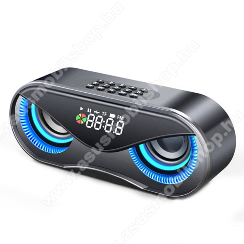 ASUS Zenfone 2 Laser (ZE500KL)Hordozható bluetooth hangszóró - BAGOLY DESIGN - 10W, 75dB, beépített 2500mAh akkumulátor, 3.5mm AUX, USB, FM rádió, memóriakártya olvasás, ébresztő óra - FEKETE - 175 x 70 x 55mm