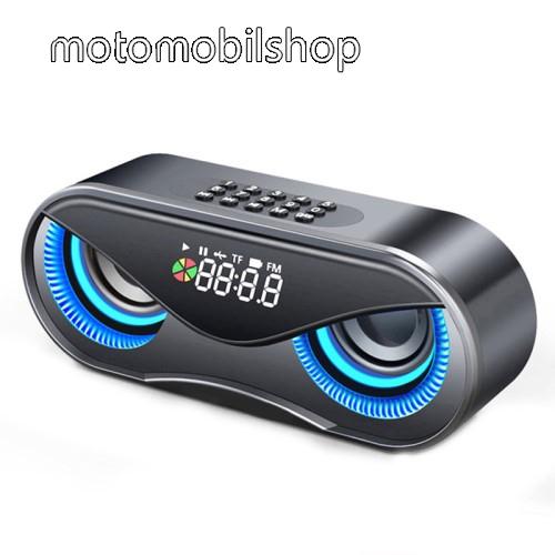 MOTOROLA RAZR HD Hordozható bluetooth hangszóró - BAGOLY DESIGN - 10W, 75dB, beépített 2500mAh akkumulátor, 3.5mm AUX, USB, FM rádió, memóriakártya olvasás, ébresztő óra - FEKETE - 175 x 70 x 55mm