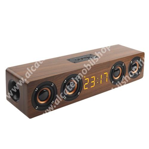 ALCATEL OT 800 Tribe Hordozható bluetooth hangszóró - beépített mikrofon, 4x3W, 75dB, beépített 3000mAh akkumulátor, 3.5mm AUX, USB, kihangosító funkció, FM rádió, memóriakártya olvasás - BARNA - 400 x 90 x 80mm
